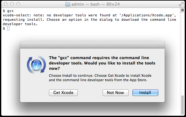 alert Xcode Command Line Tools is required